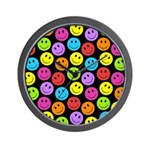 Happy Colorful Smiley Faces Pattern Wall Clock
