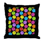 Happy Colorful Smiley Faces Pattern Throw Pillow