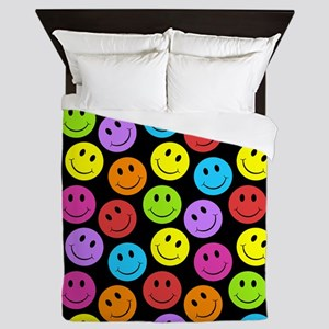 Happy Colorful Smiley Faces Pattern Queen Duvet