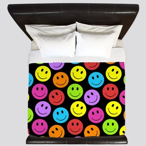Happy Colorful Smiley Faces Pattern King Duvet