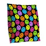 Happy Colorful Smiley Faces Pattern Burlap Throw P