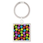 Happy Colorful Smiley Faces Pattern Square Keychai