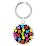 Happy Colorful Smiley Faces Pattern Round Keychain