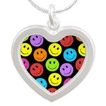 Happy Colorful Smiley Faces Pattern Silver Heart N