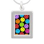 Happy Colorful Smiley Faces Pattern Silver Portrai
