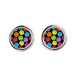 Happy Colorful Smiley Faces Pattern Cufflinks