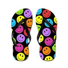 Happy Colorful Smiley Faces Pattern Flip Flops