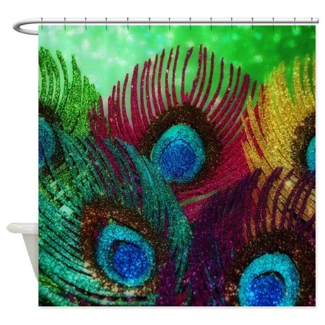 colorful peacock shower curtain by christyoliver