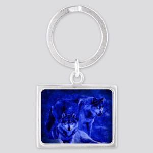Winter Wolves Landscape Keychain