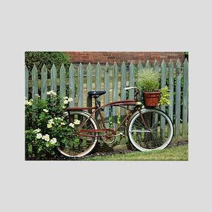Vintage Floral Bicycle Rectangle Magnet