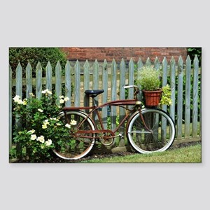 Vintage Floral Bicycle Sticker (Rectangle)
