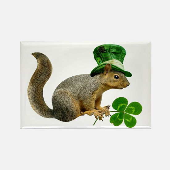 Leprechaun Squirrel Rectangle Magnet