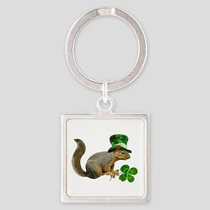Leprechaun Squirrel Square Keychain