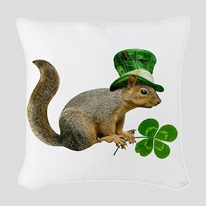 Leprechaun Squirrel Woven Throw Pillow