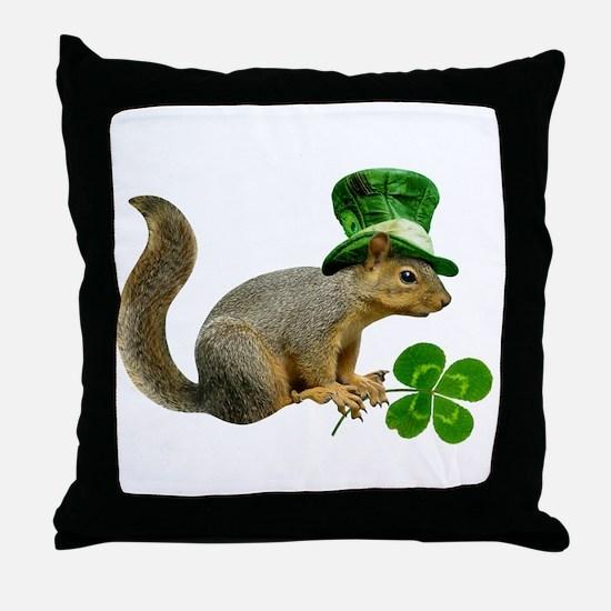 Leprechaun Squirrel Throw Pillow