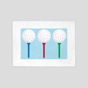 Golf Tees and Balls 5'x7'Area Rug