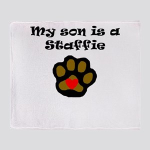 My Son Is A Staffie Throw Blanket