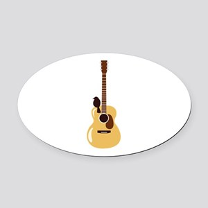 Acoustic Guitar and Bird Oval Car Magnet