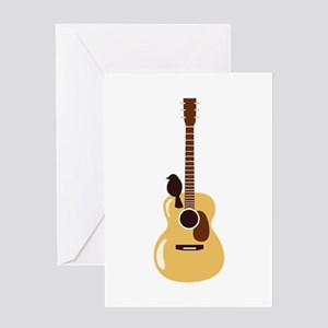 Acoustic Guitar and Bird Greeting Cards