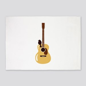 Acoustic Guitar and Bird 5'x7'Area Rug
