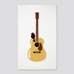 Acoustic Guitar and Bird 3'x5' Area Rug