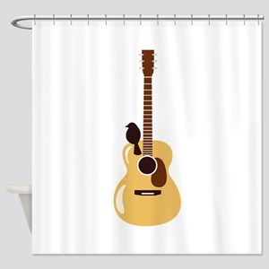 Acoustic Guitar and Bird Shower Curtain