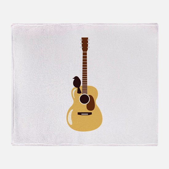 Acoustic Guitar and Bird Throw Blanket