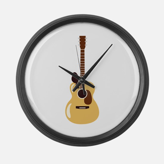 Acoustic Guitar and Bird Large Wall Clock