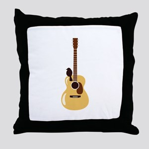 Acoustic Guitar and Bird Throw Pillow