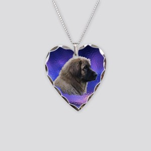 Leonberger Dog Blue Necklace Heart Charm