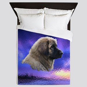 Leonberger Dog Purple Queen Duvet