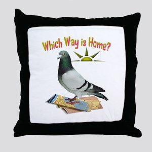 Which Way Is Home? Fun Lost Pigeon Art Throw Pillo