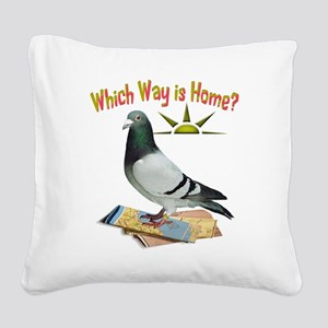 Which Way is Home? Fun Lost Pigeon Art Square Canv