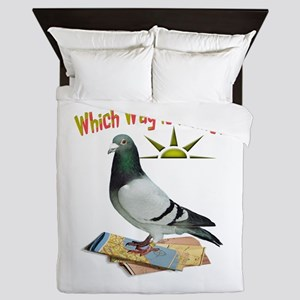 Which Way is Home? Fun Lost Pigeon Art Queen Duvet