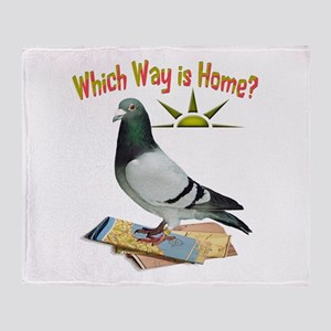 Which Way Is Home? Fun Lost Pigeon Art Throw Blank