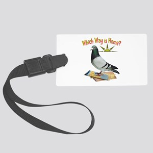 Which Way Is Home? Fun Lost Pigeon Art Luggage Tag