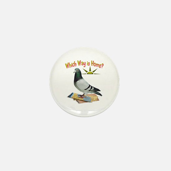 Which Way Is Home? Fun Lost Pigeon Art Mini Button