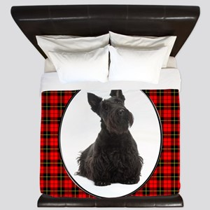 Red Plaid Scottie King Duvet