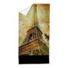 Eiffel Tower Grunge Beach Towel