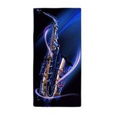 Blue Saxophone Beach Towel
