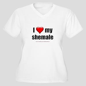 """I Love My Shemale"" Women's Plus Size V-Neck T-Shi"