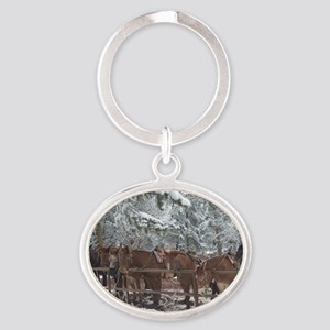 Stables at the Grand Canyon Oval Keychain