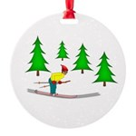 Skiing Round Ornament