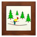 Skiing Framed Tile