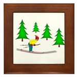 Skiing Framed Tile