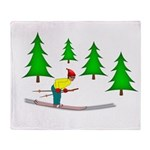 Skiing Throw Blanket