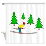 Skiing Shower Curtain