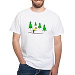 Skiing White T-Shirt