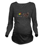 Horse Skijoring Long Sleeve Maternity T-Shirt