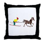 Horse Skijoring Throw Pillow